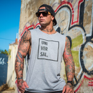 mens Grey muscle tee