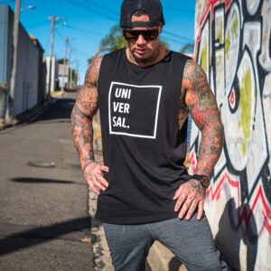 mens black muscle tee